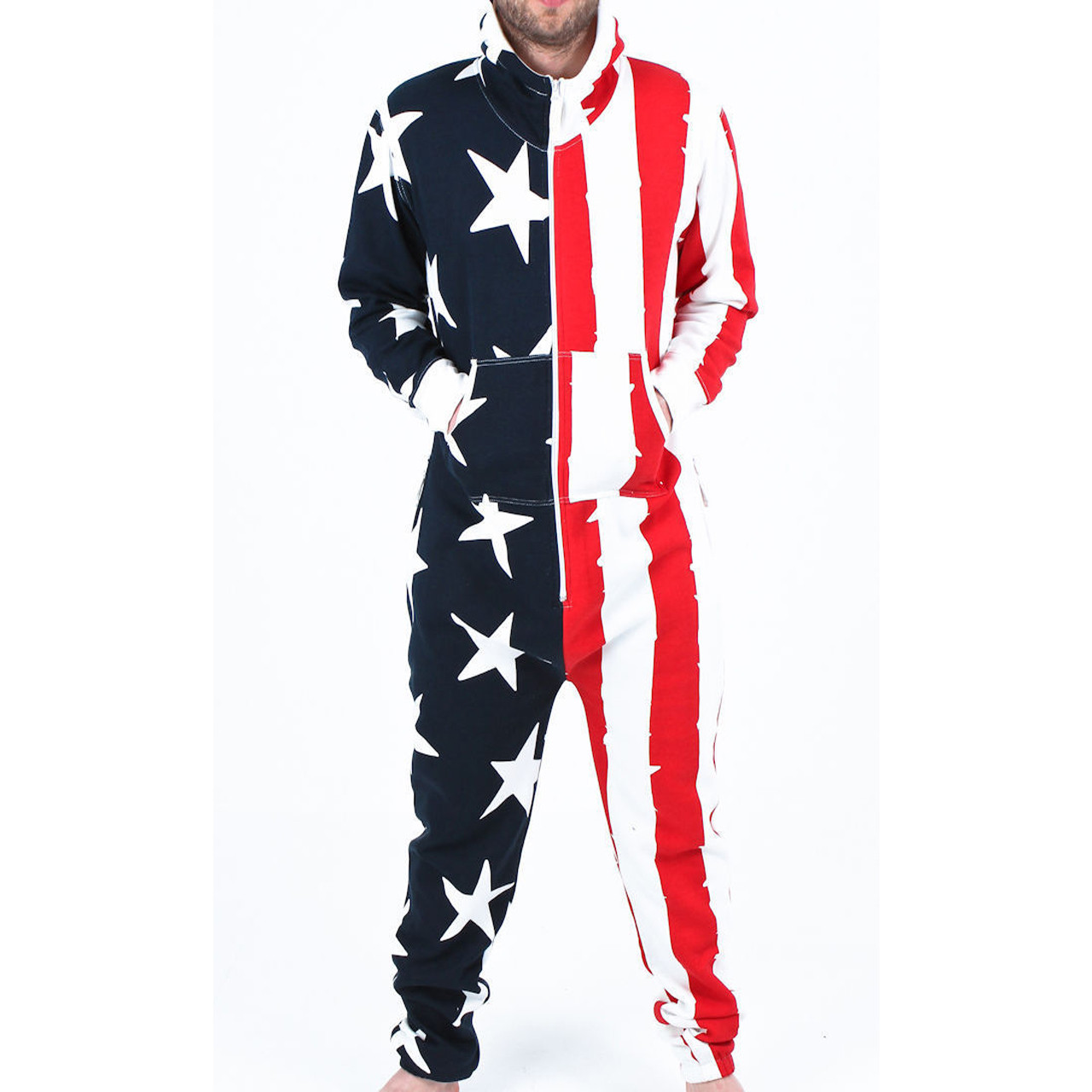 657d909dfbb0 Mens Red White Blue Onesie Non Footed Zipper Hoodie Tracksuit ...