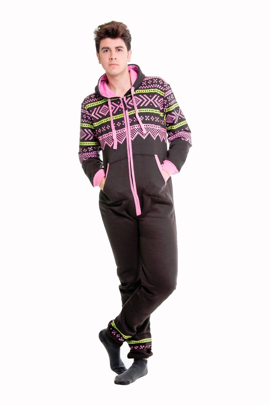 04334229c1e4 Mens Black Pink Onesie Non Footed Zipper Hoodie Tracksuit - XXL ...
