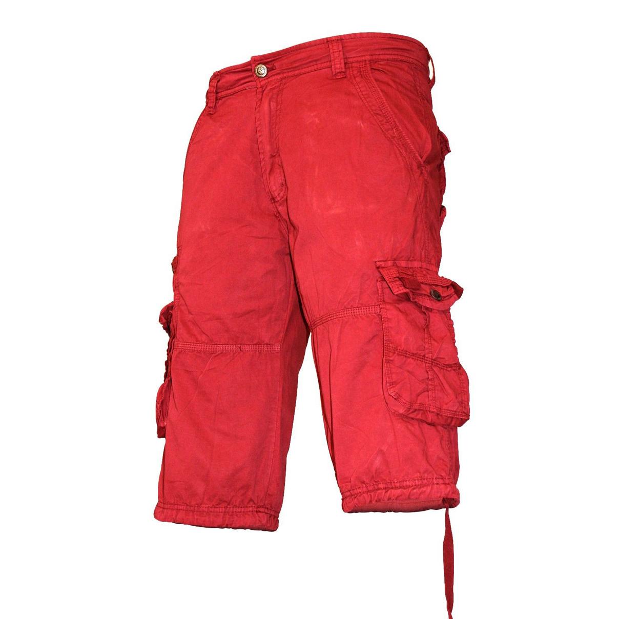 Skylinewears Mens Oringish Red Regular Cargo Shorts Trousers - Skylinewears
