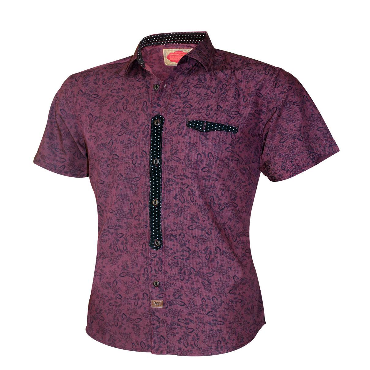 Purple Mens Short Sleeve Dress Shirts Skylinewears