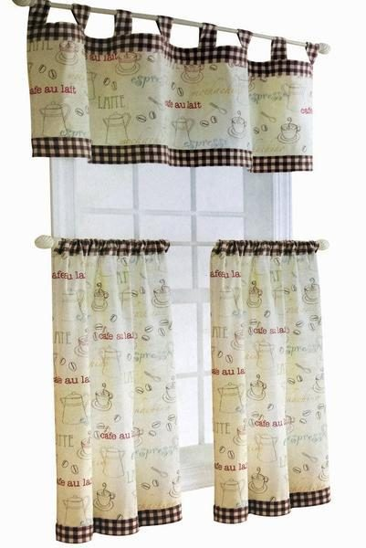 Kitchen Curtain Valance 3 Piece Tap Top Tiers & Valance Sets ...