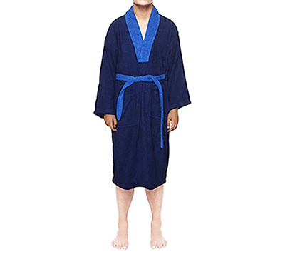 100% Egyptian Blue Cotton Bath Robe Terry Toweling Dressing Gown ...
