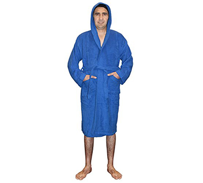 Womens Terry Toweling Cotton Bathrobe Dressing Gown Robe-Blue ...