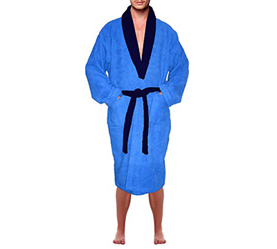 73b16a04ac Women s Blue 100% Terry Cotton Hooded Bathrobe Toweling Robe ...