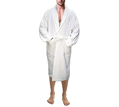 5049693ee1 Men s White 100% Terry Cotton Bathrobe Toweling Robe - Skylinewears