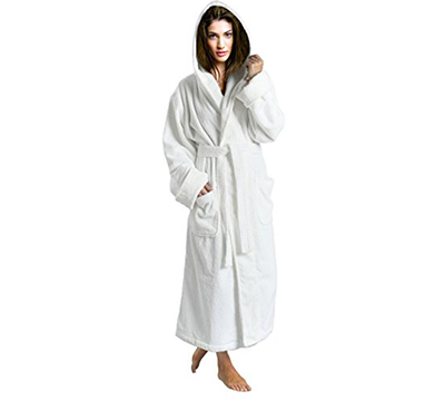 899dd4ef49 Women s White 100% Terry Cotton Hooded Bathrobe Toweling Robe ...