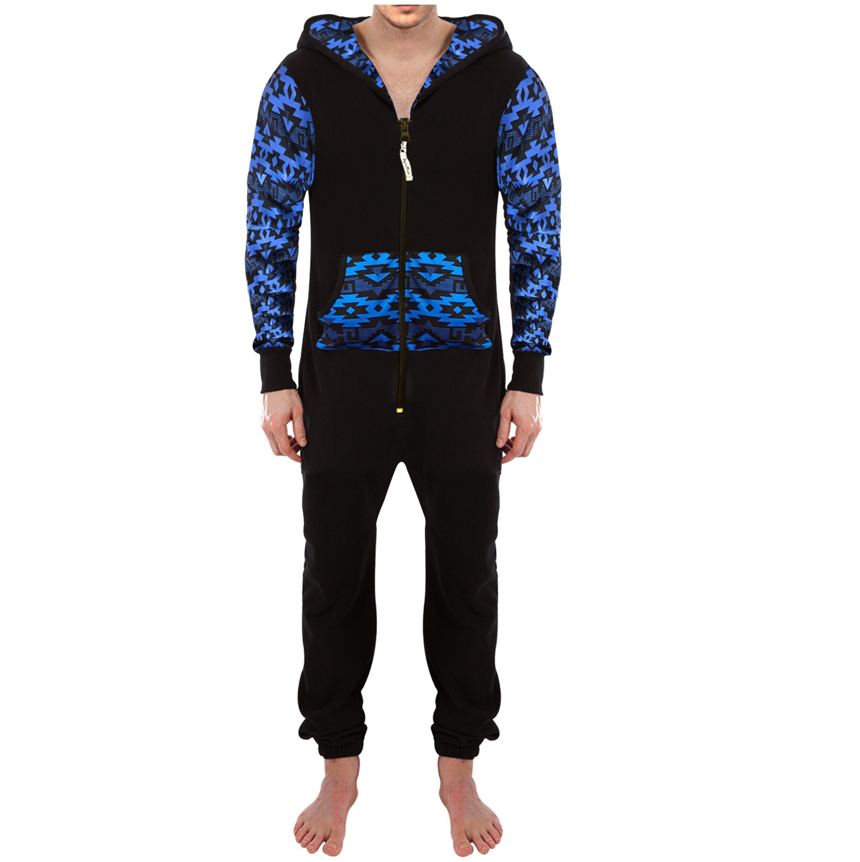 464ac113ac16 Mens Black Blue Arms One Piece Zipper Hoodie Playsuit - Skylinewears