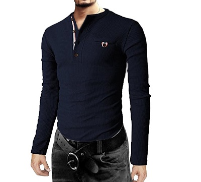 Mens navy thermal henley cotton long sleeve shirts with for Men s thermal henley long sleeve shirts