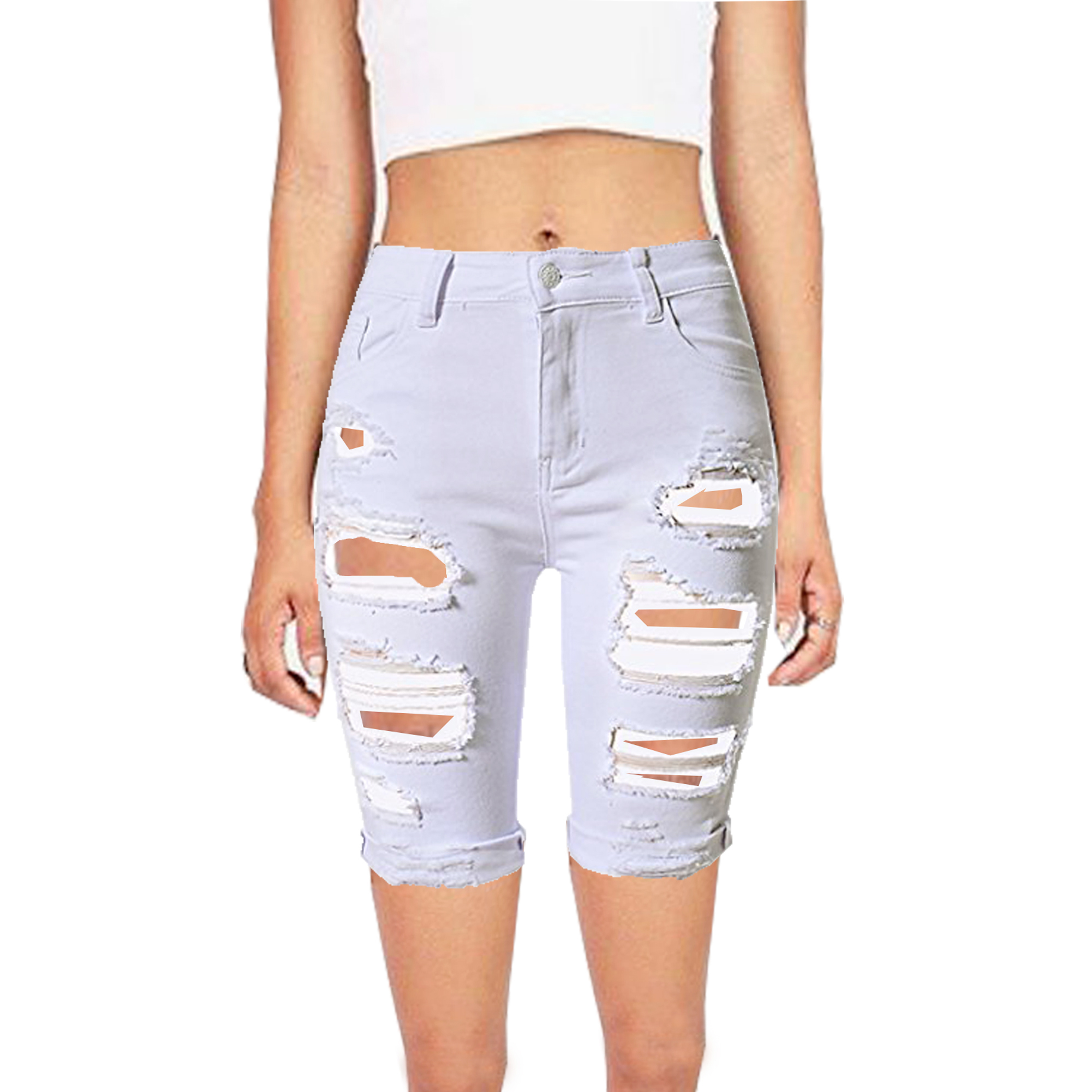 d85d4df3bc Womens White Jeans Ripped Hole Distressed Slim Short Ladies Denim Frayed  Stretch Pant