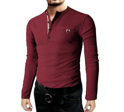 Mens wine thermal henley cotton long sleeve shirts with for Men s thermal henley long sleeve shirts