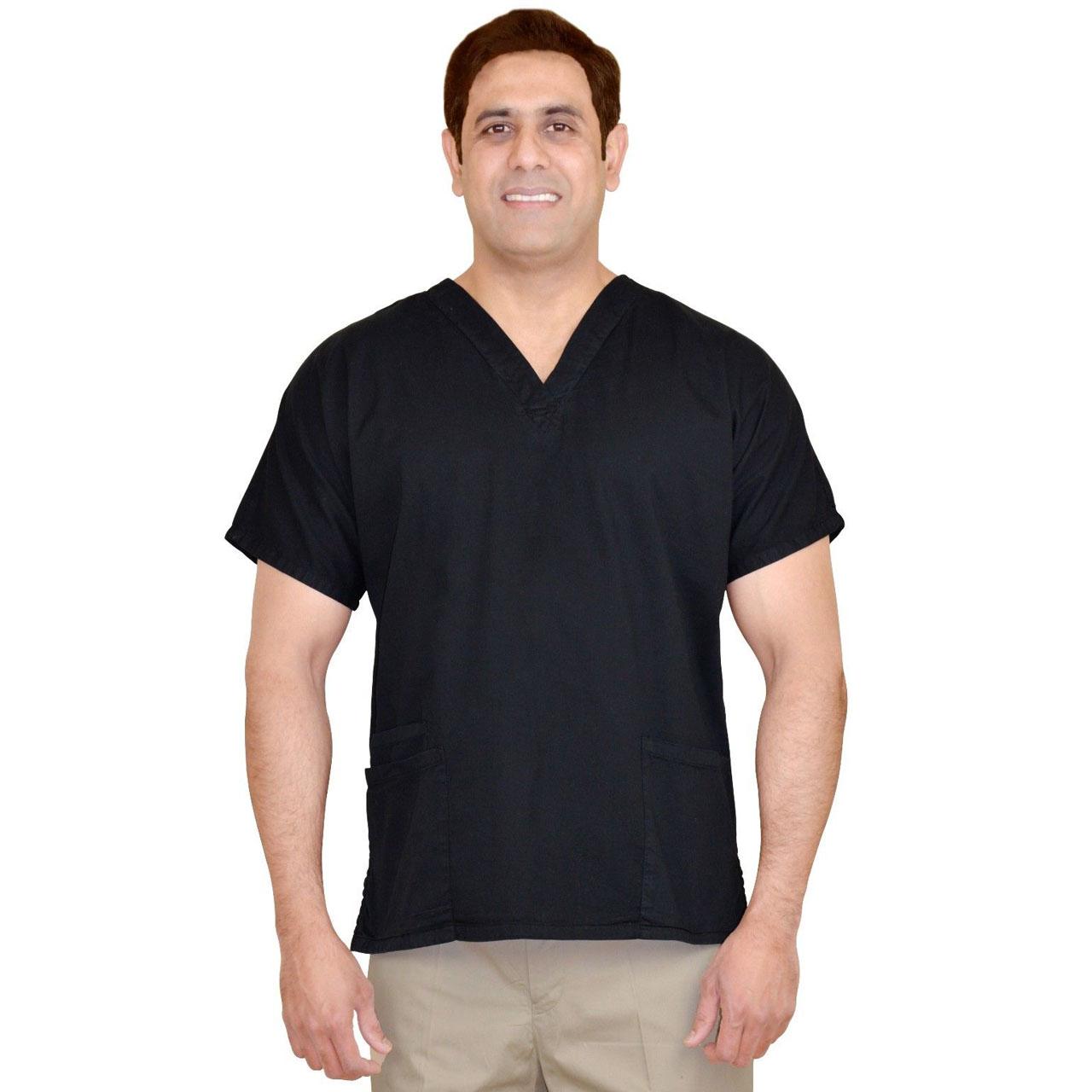 0a91f117dea Unisex Black Men/Women V-Neck Scrub Cotton Uniforms Medical Hospital  Nursing Shirt Top