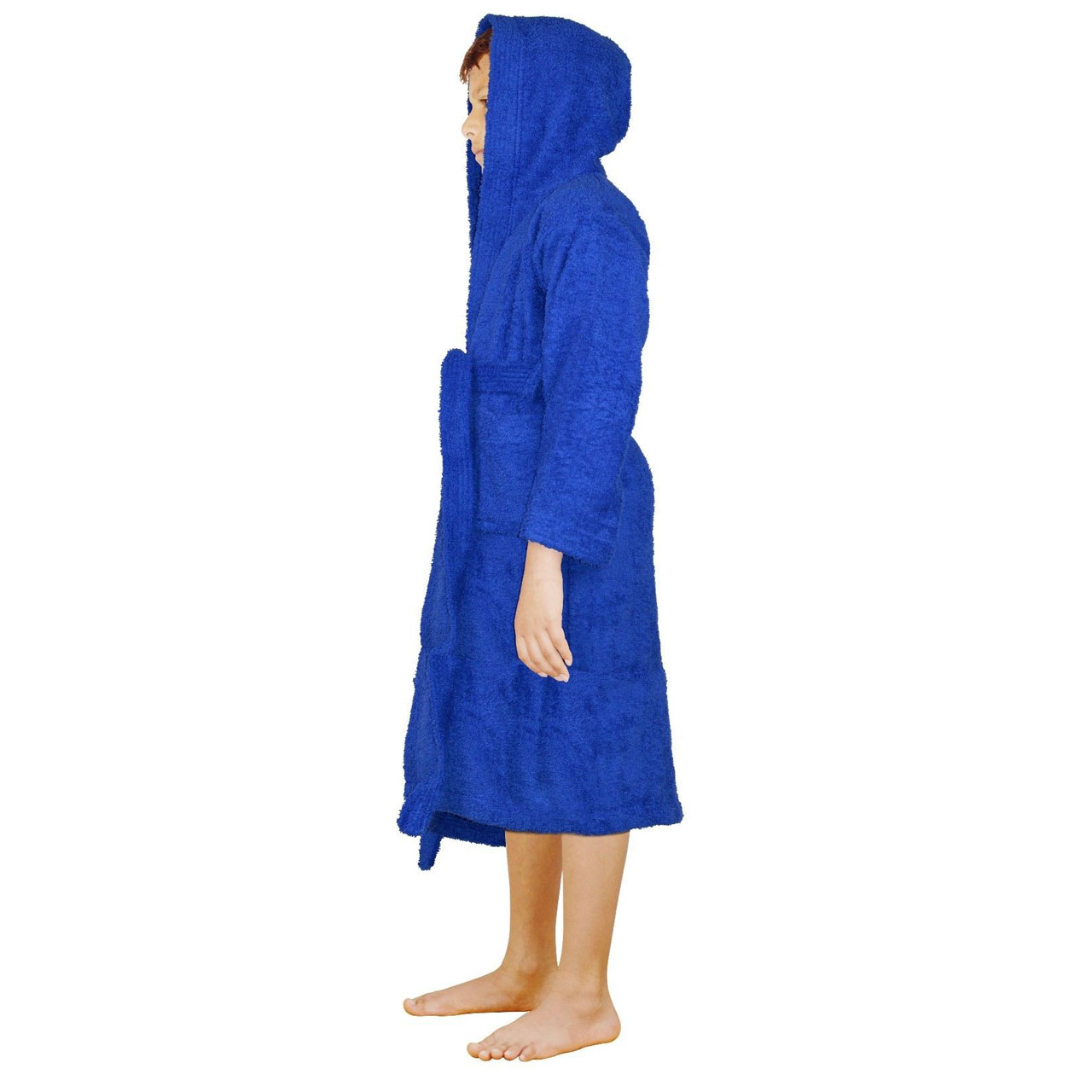 2409545539 Terry Cloth Blue 100% Cotton Kid s Unisex Fit Hooded Bathrobes ...