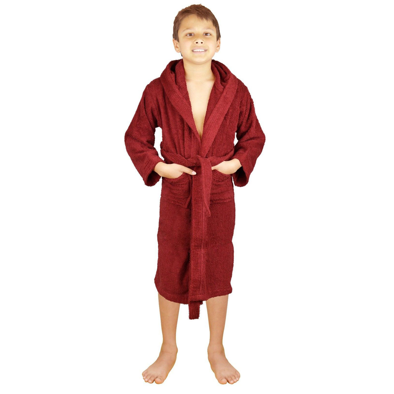 13057ce401 Terry Cloth Wine 100% Cotton Kid s Unisex Fit Hooded Bathrobes ...
