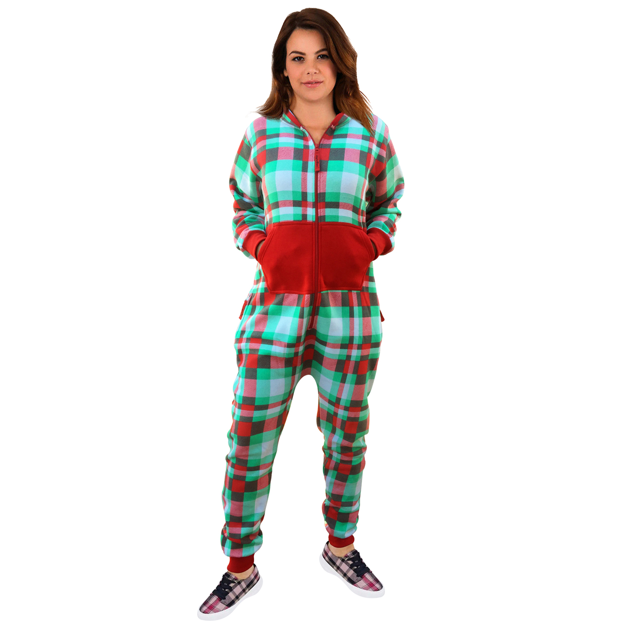 29b08c4548fa Womens Onesie Check Green Fashion Playsuit Jumpsuit - Skylinewears