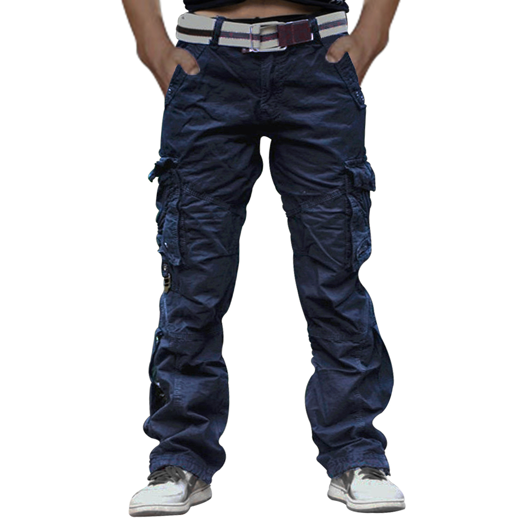 c0ab99313 Men Navy 100% Cotton Tactical Pant Camping Hiking Army Cargo Combat  Military Trouser