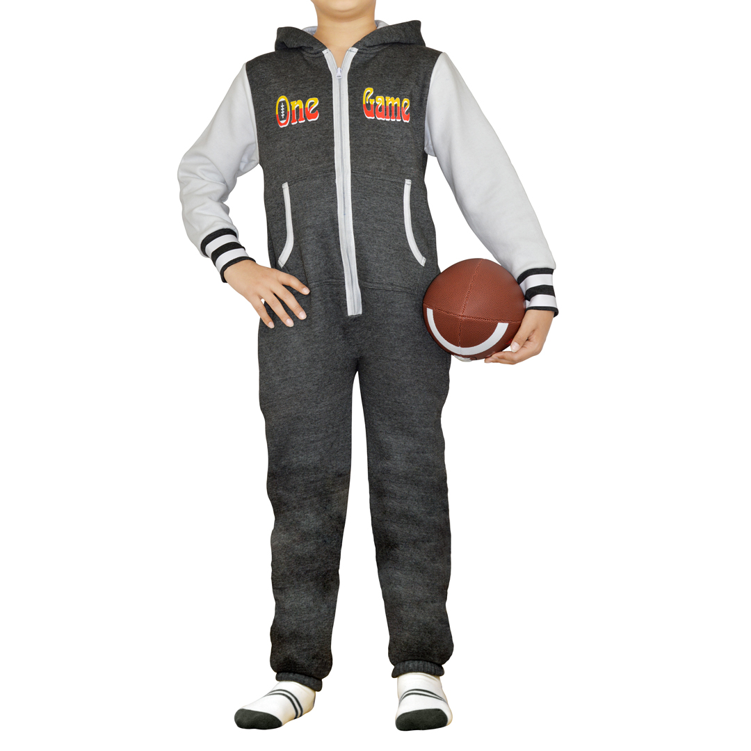 7e96922ee90 Kids Boys and Girls Charcoal Hooded One Piece Printed Jumpsuits ...