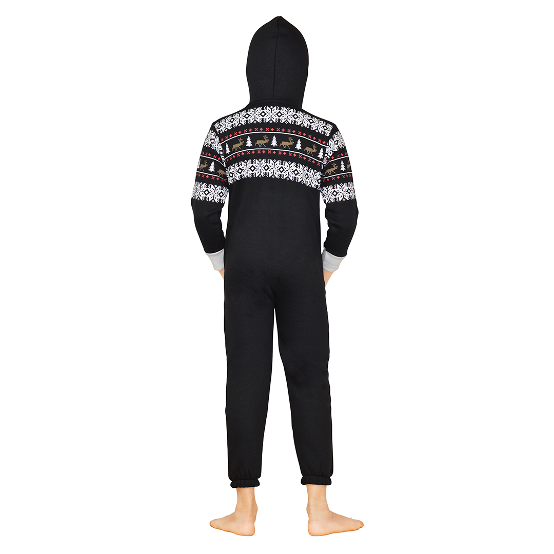 c50217a2e40 Kids Black Santa Claus Hooded Printed Onesies Jumpsuits One Piece ...