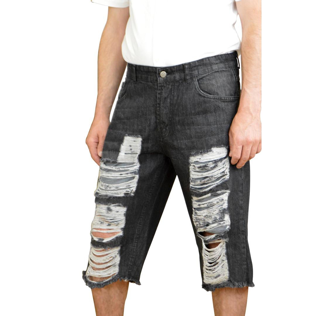 order online united kingdom good service Men's Black Ripped Jeans Biker Summer Denim Shorts Hole Pants Casual  Distressed Short - Skylinewears